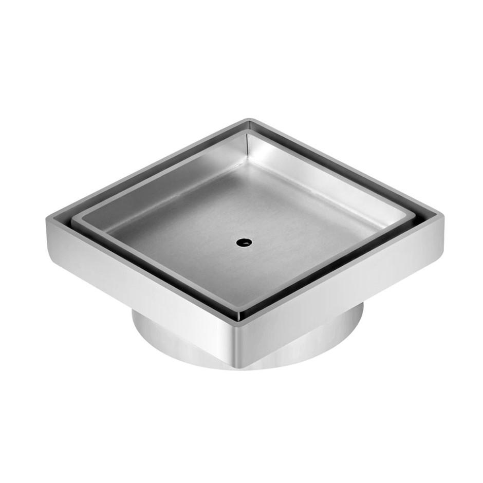 Square Stainless Steel Shower Grate Drain Floor Bathroom 95mm Depth