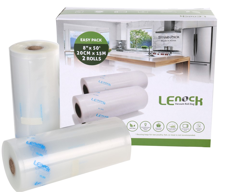 2 Rolls x LENOCK Vacuum Seal 20cm x 15M each Compatible with Most Household