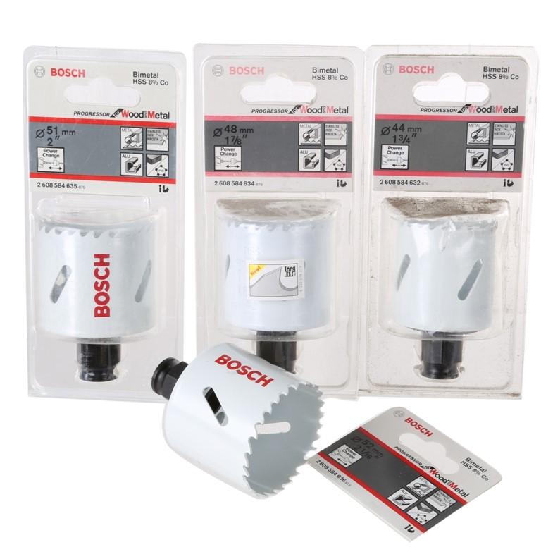 4 x BOSCH Bimetal Power Change Hole Saws; 44mm, 48mm, 51mm & 52mm. Buyers N