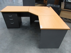 L Shaped Timber Laminate Office Desk With Return Drawer Mobile