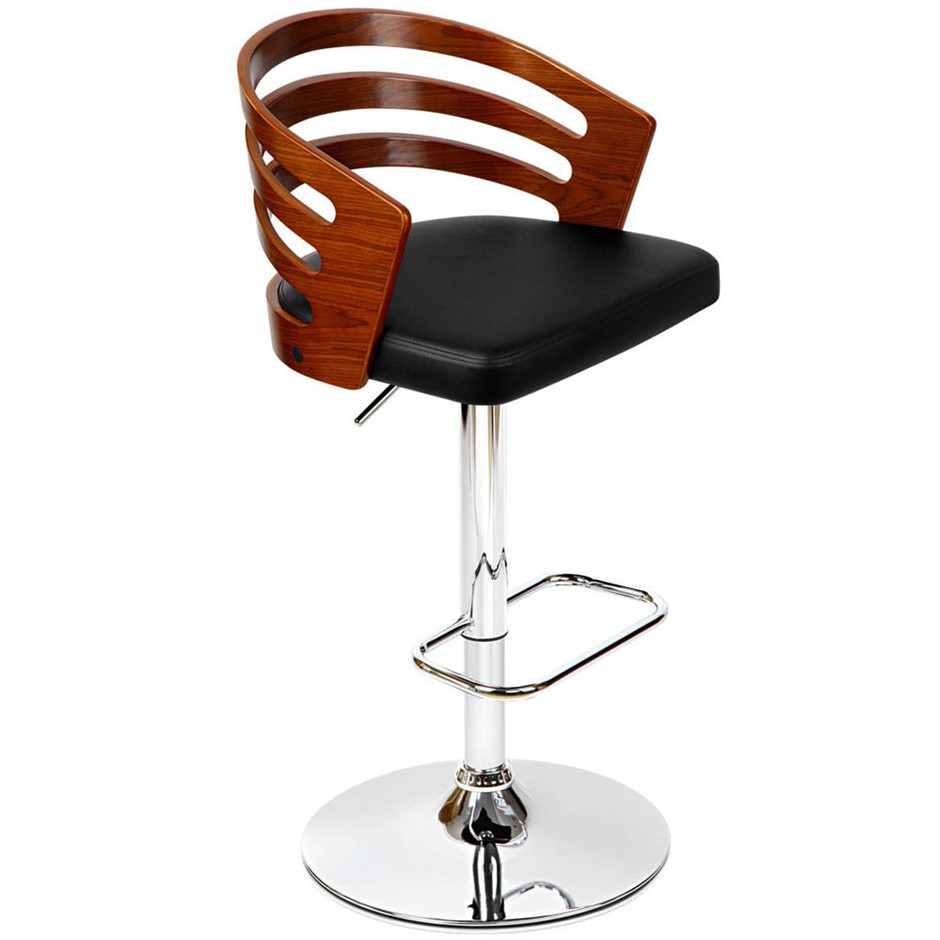 Artiss Wooden Bar Stool with PU Leather Seat - Black