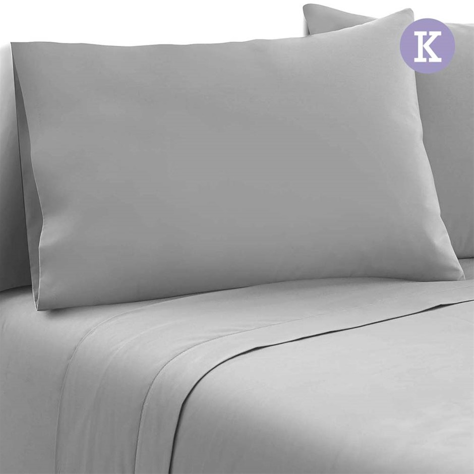 Giselle Bedding King Size 4 Piece Micro Fibre Sheet Set - Grey
