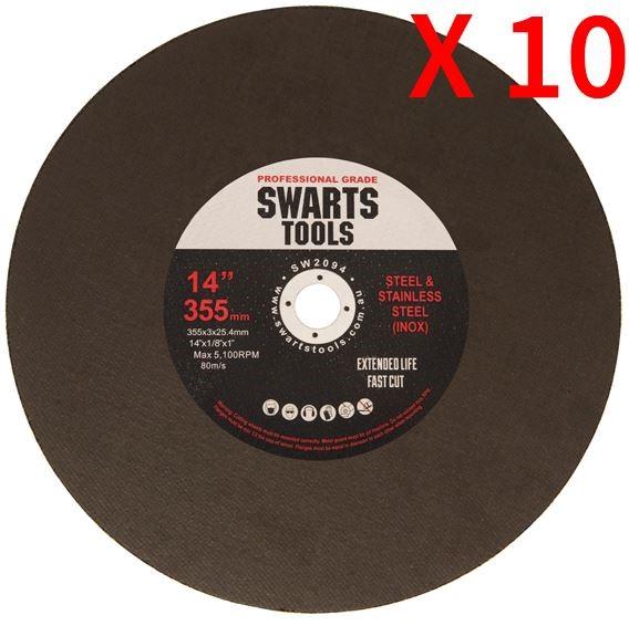 "10Pc 350Mm 355Mm 14"" Metal Chop Off Drop Saw Blades Cutting Discs Wheel"
