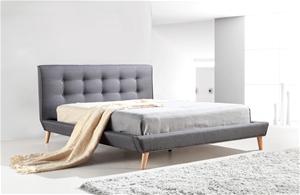 Queen Linen Fabric Deluxe Bed Frame Grey