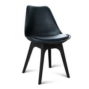 Buy set of 4 replica eames dsw pu leather chair black for Eames replica schweiz