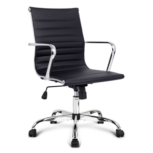 PU Leather Office Desk Chair - Black
