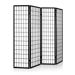 Artiss 4 Panel Wooden Room Divider - Bla