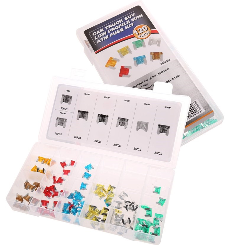 120pc Automotive Mini Fuse Assortment Kit, Contents as per Image. (SN:68829