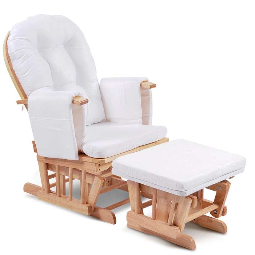 Buy Baby Breast Feeding Sliding Glider Chair With Ottoman Natural