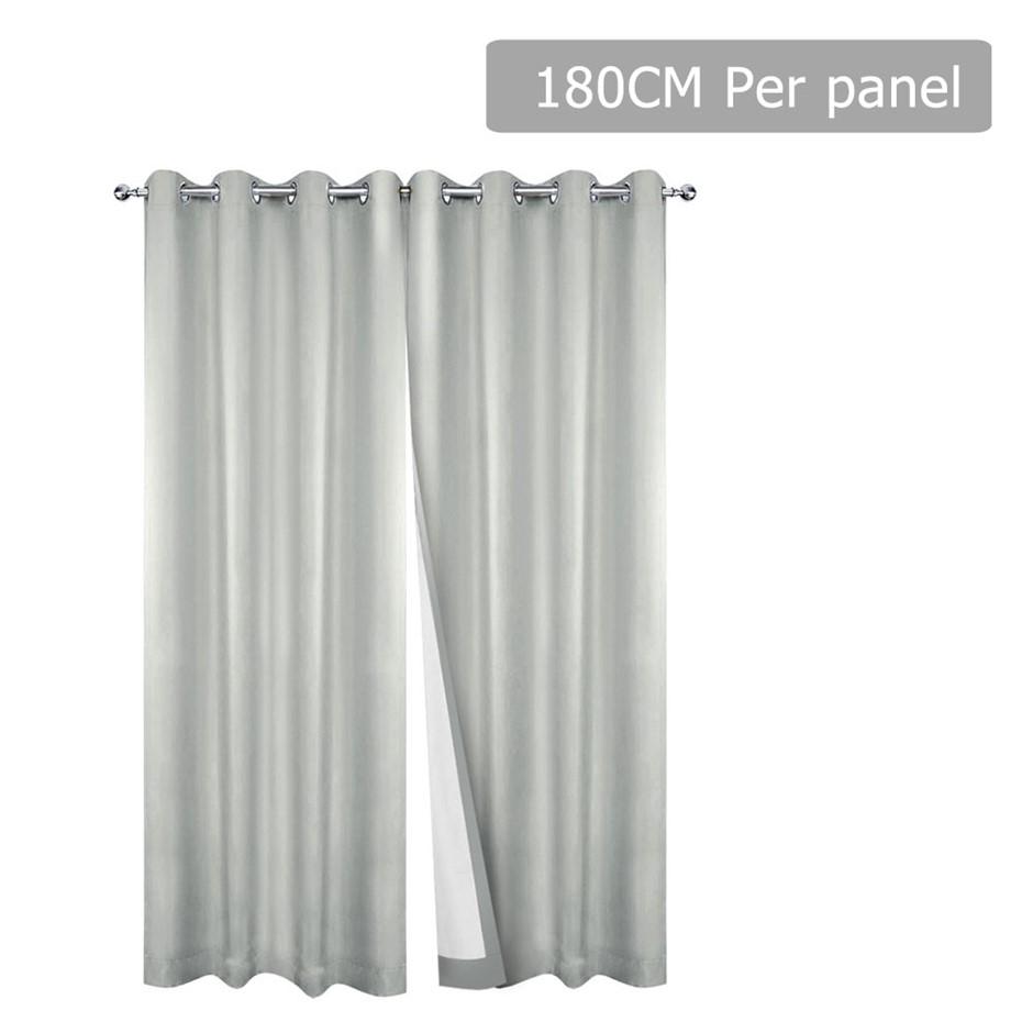 Art Queen 2 Panel 180 x 230cm Eyelet Blockout Curtains - Ecru
