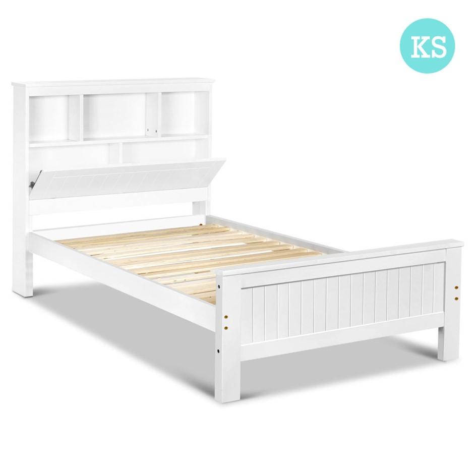 King single bed frame sydney - King Single Wooden Bedframe With Storage Shelf White