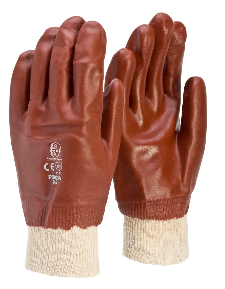 12 x Heavy Duty PVC Coated Gloves, Size L with Knitted Wrist Band. Buyers N