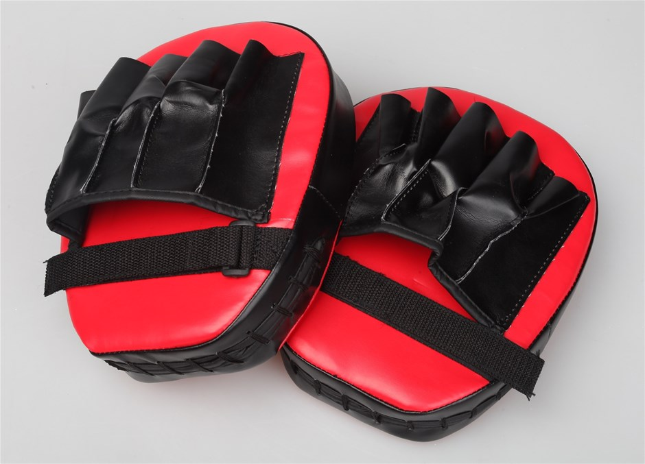 2 x Thai Boxing Punch Focus Gloves Kit Pad Karate Muay Training Red & Black