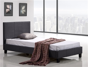 Single Linen Fabric Bed Frame - Grey