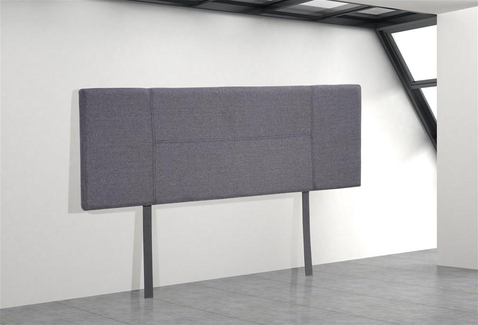 Linen Fabric Queen Bed Headboard Bedhead - Grey