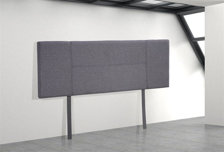 Linen Fabric Double Bed Headboard Bedhead - Grey