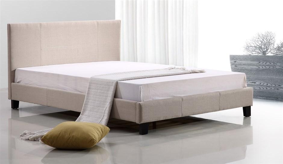 Queen Linen Fabric Bed Frame - Beige
