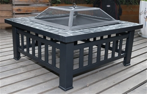 """18"""" Square Metal Fire Pit Outdoor Heater"""