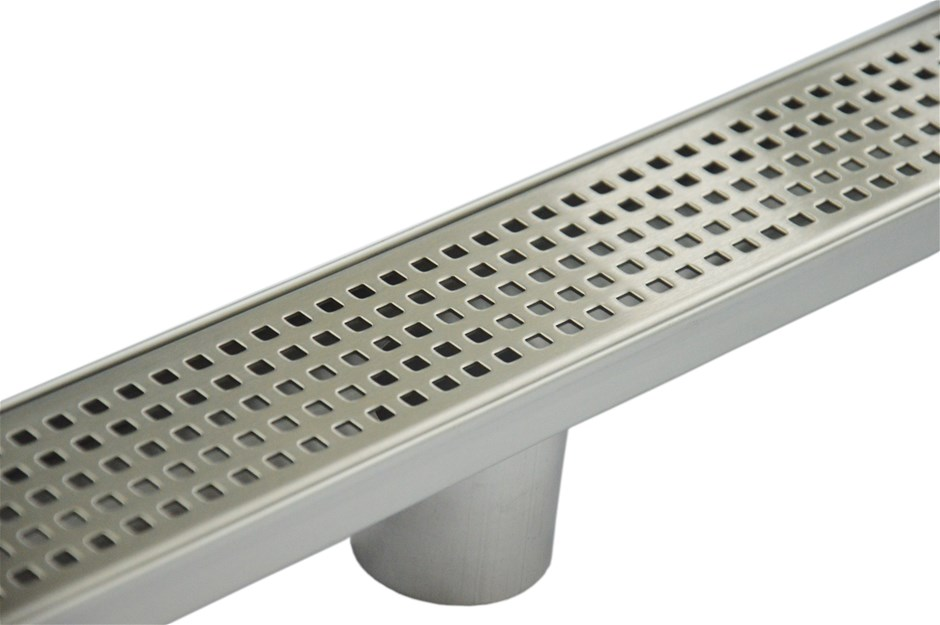 800mm Bathroom Shower S/S Grate Drain w/Centre outlet Floor Waste Square
