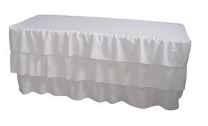 6 Foot 3 Tier Pleated White Table Cloth