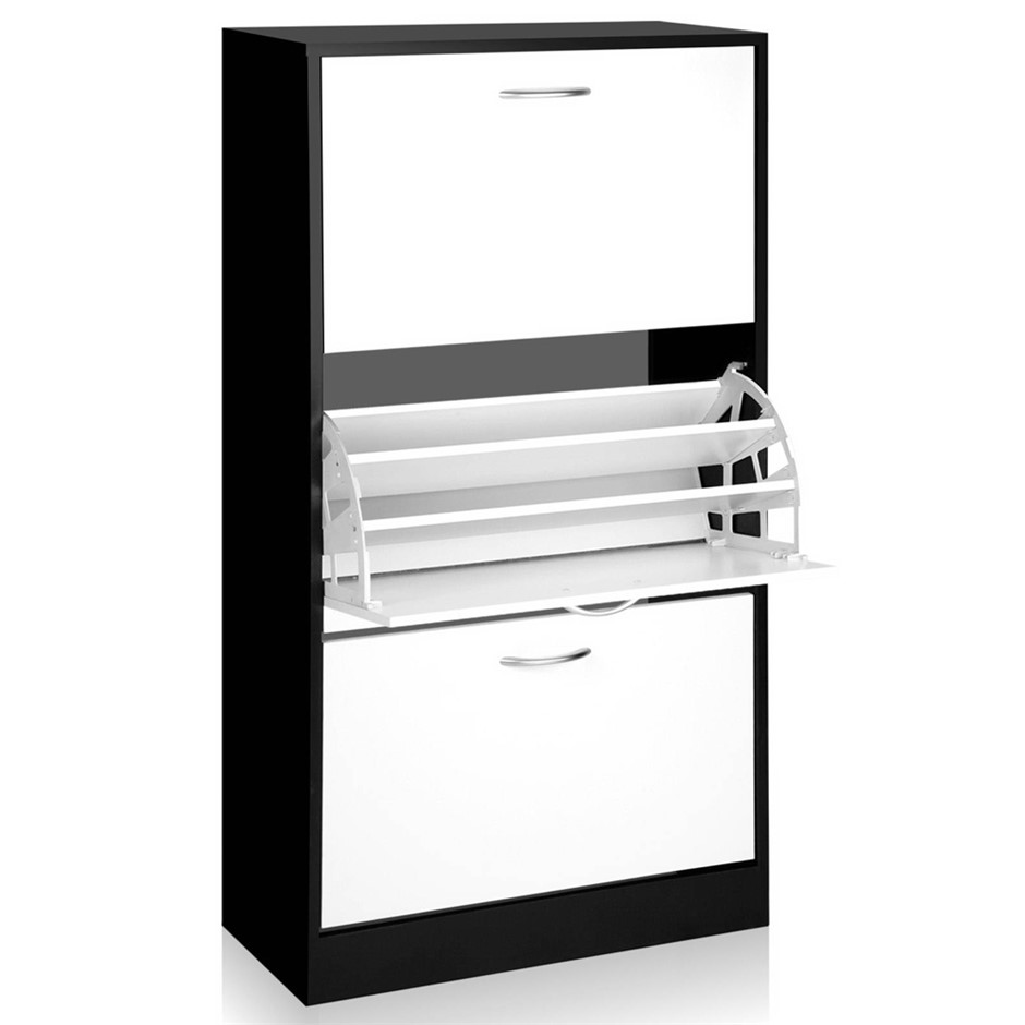 Artiss 3 Tier Shoe Cabinet - Black & White