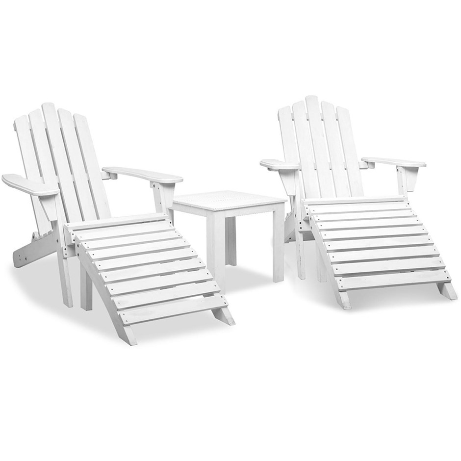 Gardeon 5 Piece Outdoor Beach Set - White