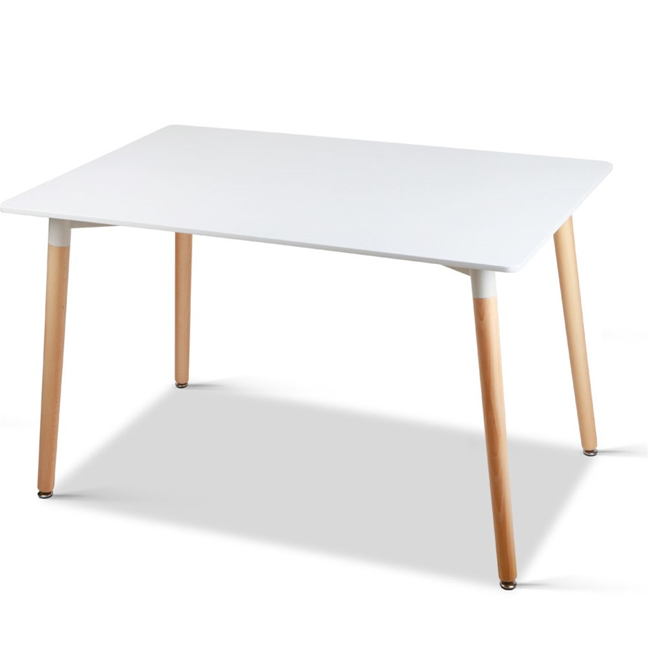 6 Seater Rectangular Beech Timber Dining Table White