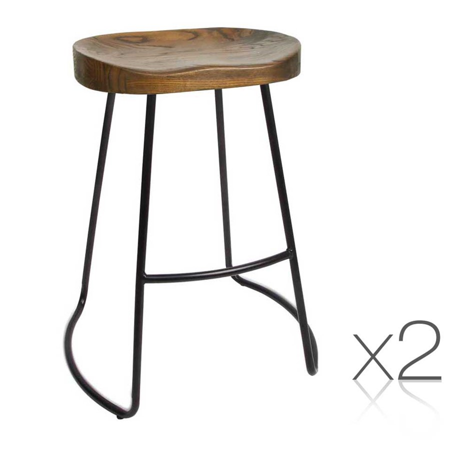 Artiss Set of 2 Wooden Backless Bar Stools - Black