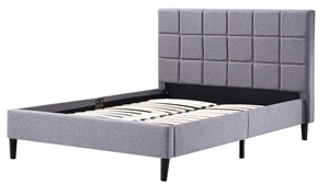 Double Linen Fabric Deluxe Bed Frame Gre