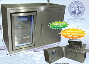 Schmick stainless steel sink and fridge outdoor combo for Outdoor kitchen with sink and fridge