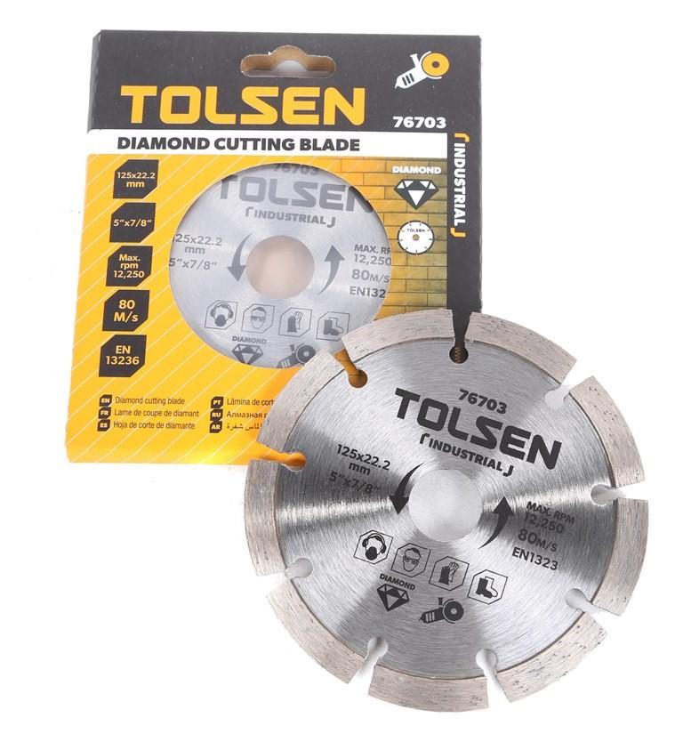 5 x TOLSEN Diamond Cut Blade, 125x22.2mm, Max RPM 12 250, Blade Width 10mm.