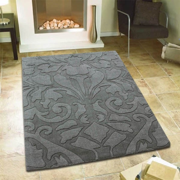 Damask Design Embossed Wool Rug
