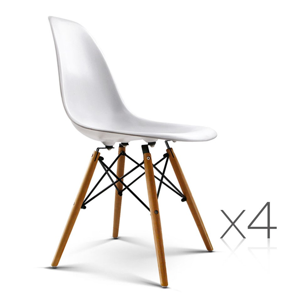 Artiss Set Of 4 Retro Beech Wood Dining Chair White