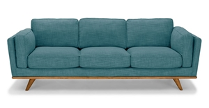 3 Seater Sofa Teal Fabric Lounge Set for