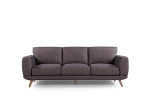 3 Seater Sofa Brown Fabric Lounge Set Co
