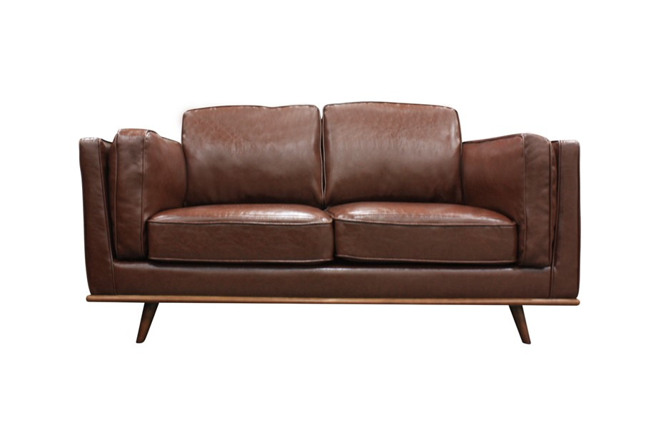 Solid wooden frame Sofa 2 Seater Brown PU