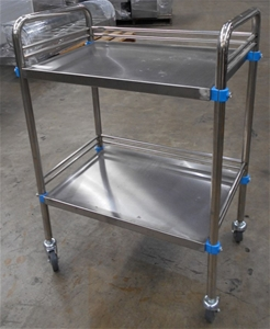 Stainless steel medical trolley with und