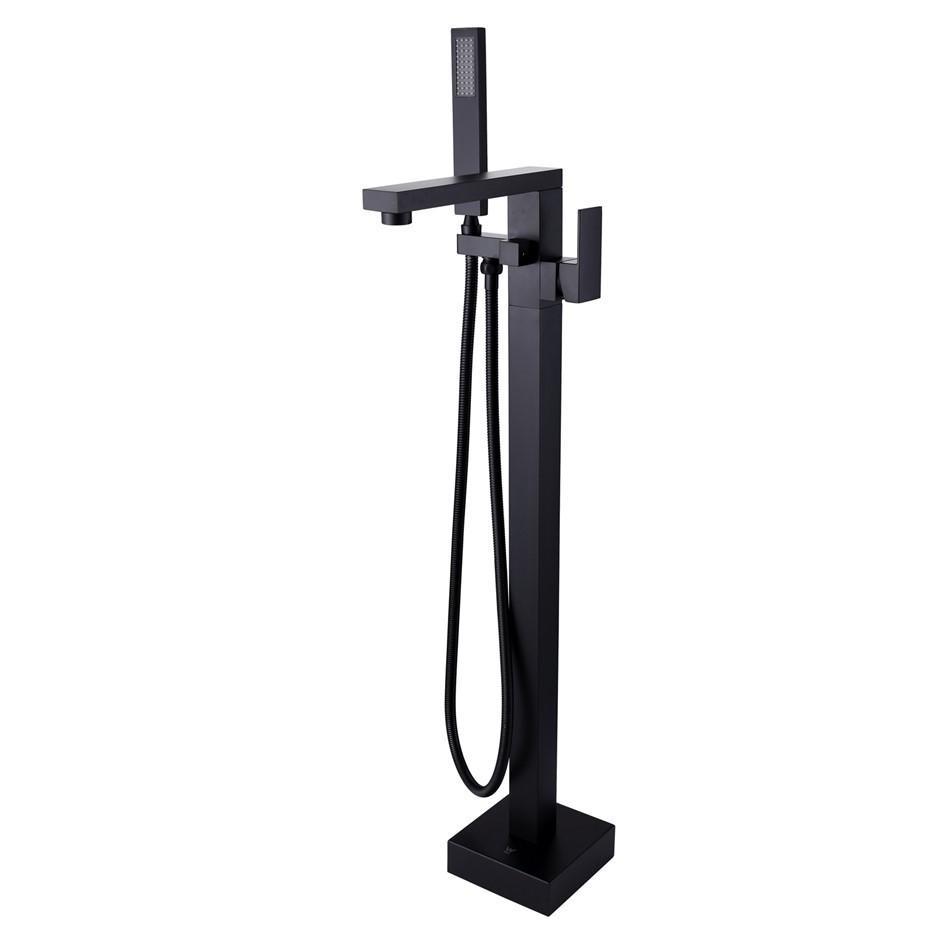 Square Black Floor Standing Mixer With Diverter & Handheld Shower(Brass)