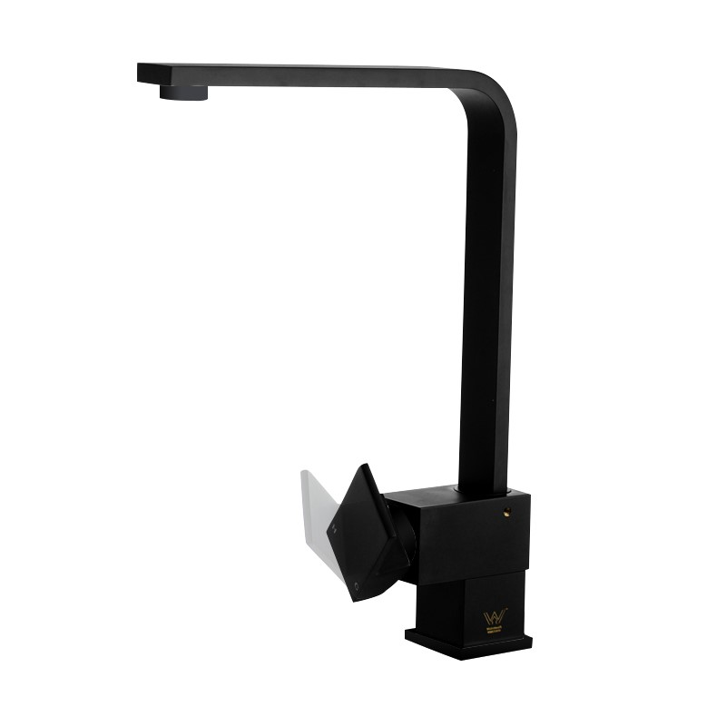 Square Standard Black Kitchen Sink Mixer Tap Brass Lead Free Watermark&WELS