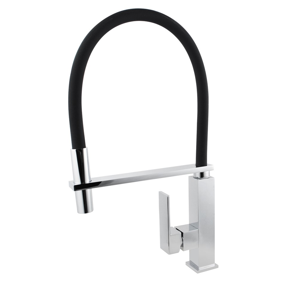 Black Hose 360 degree Swivel Spout Kitchen Mixer Tap Faucet Watermark WELS