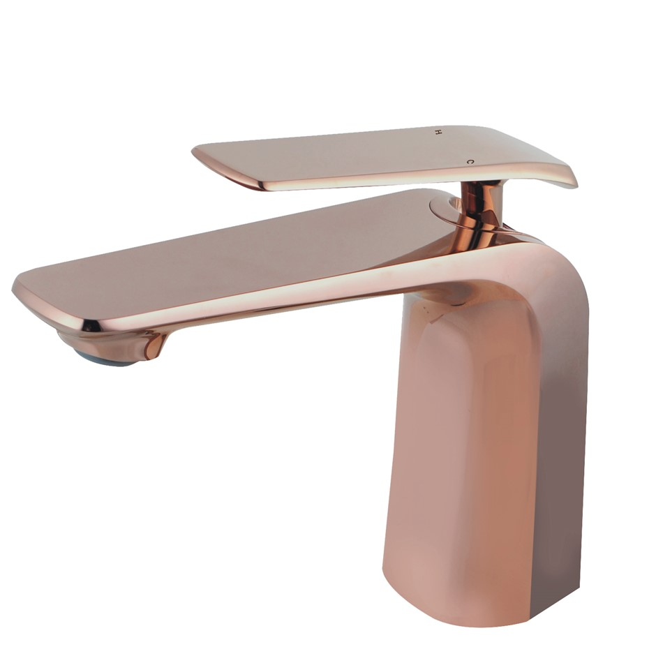 Eden Rose Gold Basin Mixer Tap Brass Faucet Watermark and WELS Approved