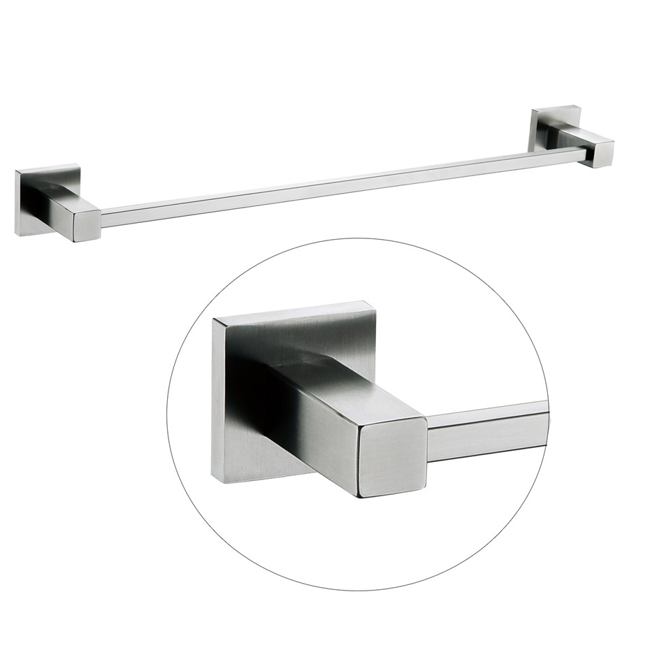 Square Chrome 304 Stainless Steel Single Towel Rail Rack Bar 600mm