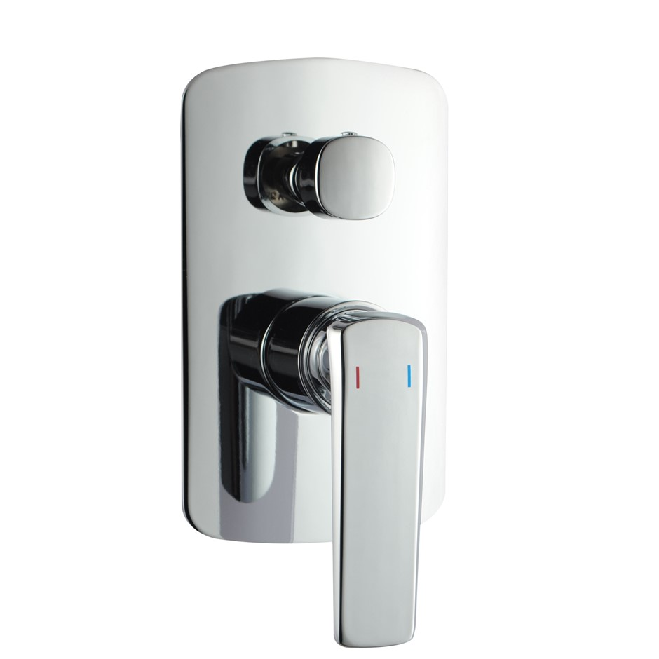 Eden Square Chrome Shower/Bath Mixer With Diverter(Brass)