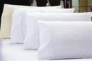 1200 TC Pillow Cases White Stripe x 2