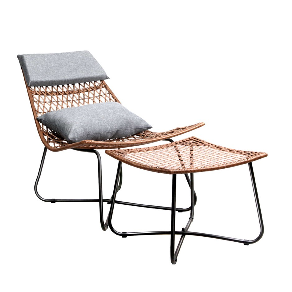 Artiss PE Wicker Outdoor Lounge Chair Set - Natural
