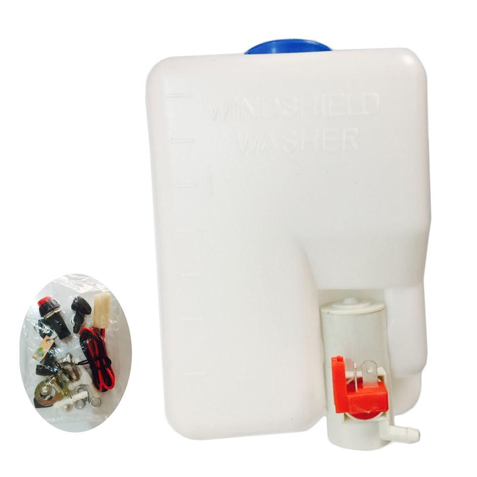 Windscreen Washer Bottle Kit Universal with Bottle Pump Hose Jets Switch