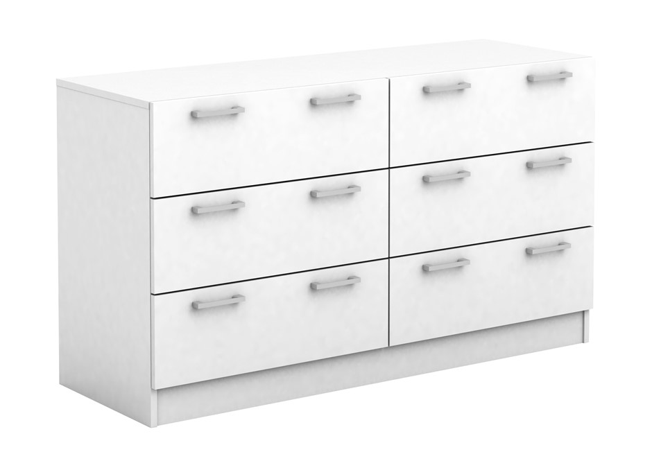 Tribecca 6 Drawer Low Boy Chest - White