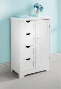 Maine 4 Drawer 1 Door Multipurpose Bathroom Cabinet