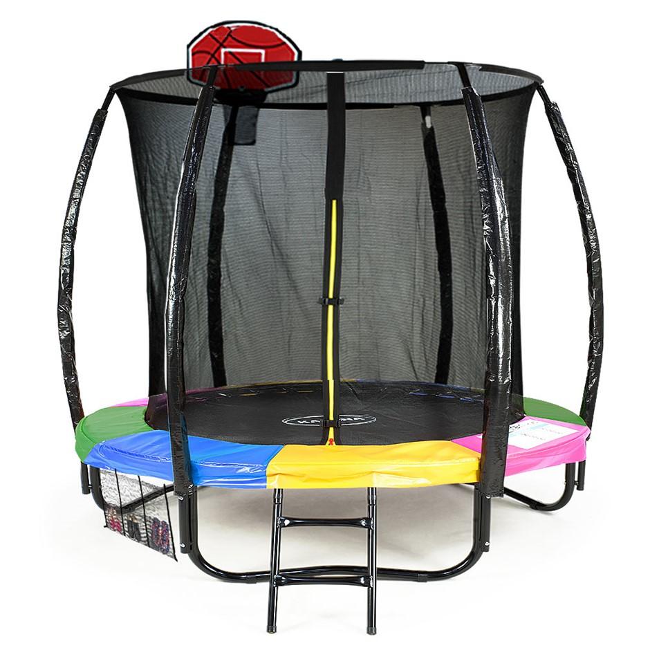 Kahuna Trampoline 6 ft - Rainbow with Basketball Set