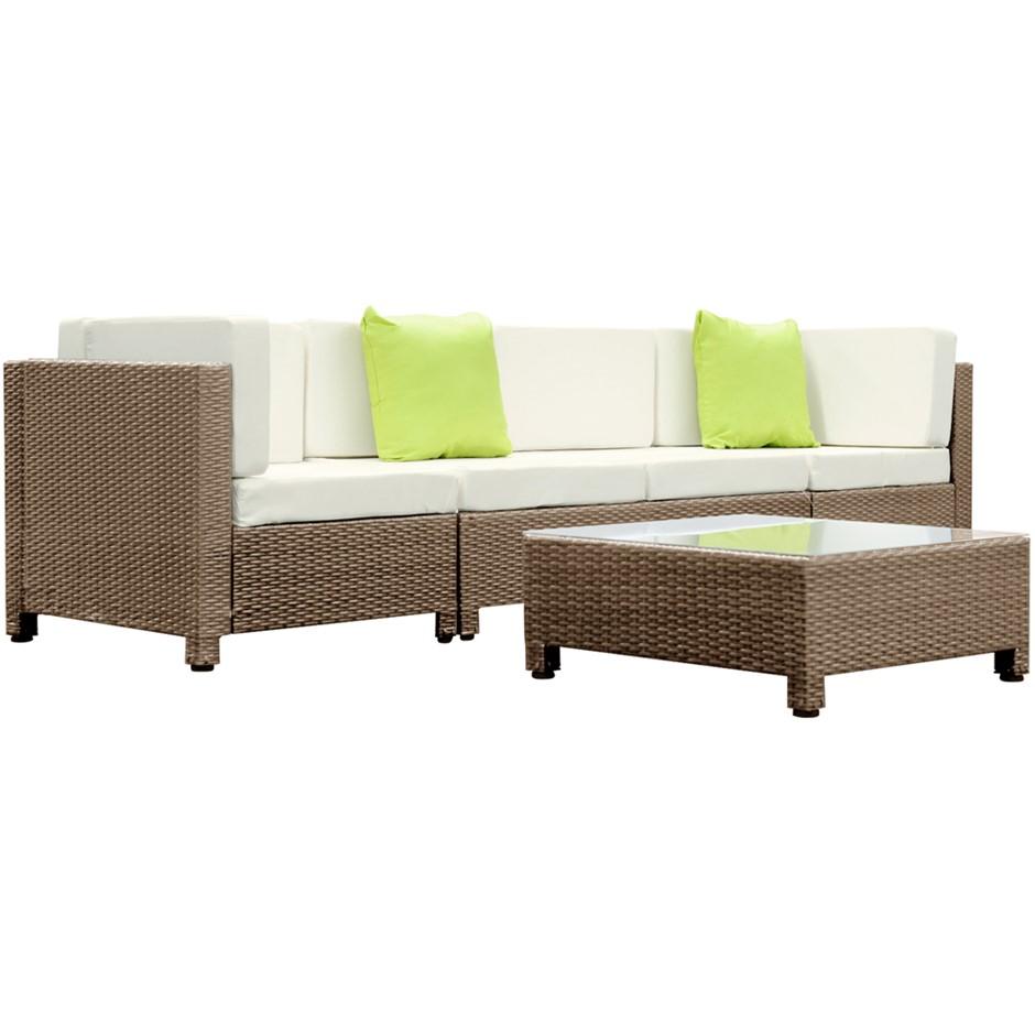 5 pcs Brown Wicker Rattan 4 Seater Outdoor Furniture Lounge Set Beige
